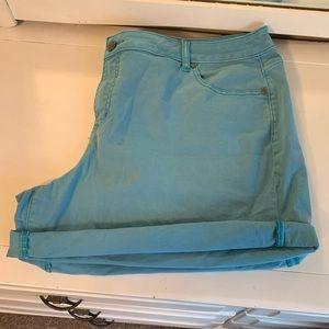 Turquoise Denim Shorts; Lane Bryant; Plus Size 24